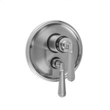 "Pewter - Round Step Plate with Hex Lever Thermostatic Valve and Hex Lever Volume Control Trim for 1/2"" Thermostatic Valve with Integral Volume Control (J-THVC12)"