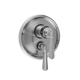 """Polished Gold - Round Step Plate with Hex Lever Thermostatic Valve and Hex Lever Volume Control Trim for 1/2"""" Thermostatic Valve with Integral Volume Control (J-THVC12)"""