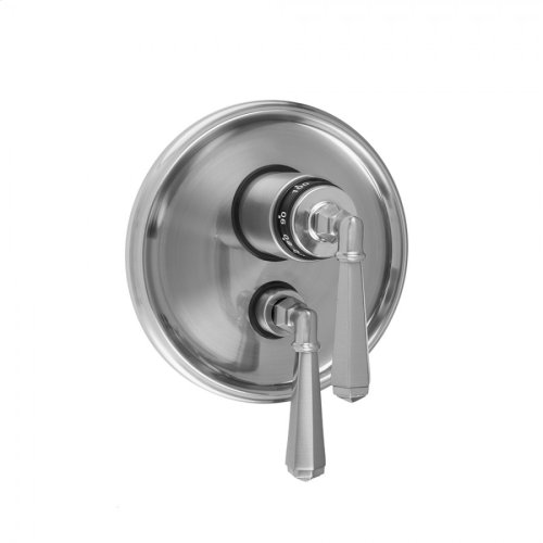 """Satin Gold - Round Step Plate with Hex Lever Thermostatic Valve and Hex Lever Volume Control Trim for 1/2"""" Thermostatic Valve with Integral Volume Control (J-THVC12)"""