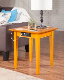 Shaker End Table with Charger Caramel Latte