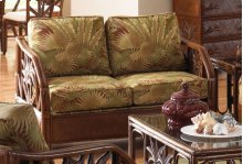 Havana Palm Upholstered Rattan & Wicker Loveseat