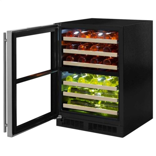"24"" High Efficiency Dual Zone Wine Cellar - Black Frame, Glass Door - Right Hinge, Stainless Designer Handle"
