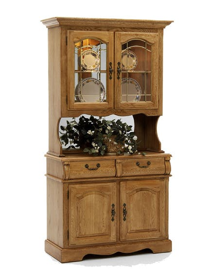 Classic Oak Small China Cabinet Hidden