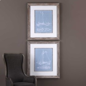 Yacht Sketches Framed Prints, S/2