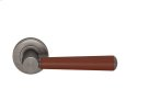 Tube Stitch Incombination Leather Door Lever In Chestnut And Vintange Nickel Product Image
