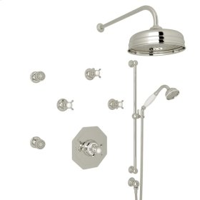 Polished Nickel Edwardian U.KIT37X Thermostatic Shower Package with Cross Handle