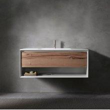"45° UP series 1200 vanity w/shelf, White Matte frame/Vintage Oak front; 47 1/4""w x 19""h x 20""d"
