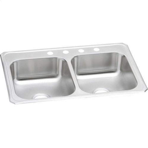 "Elkay Celebrity Stainless Steel 33"" x 22"" x 7"", Equal Double Bowl Drop-in Sink"