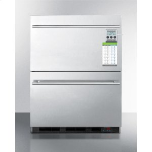 SummitBuilt-in Commercial 2-drawer All-refrigerator In Stainless Steel, W/digital Thermostat, Temperature Alarm and Hospital Grade Cord