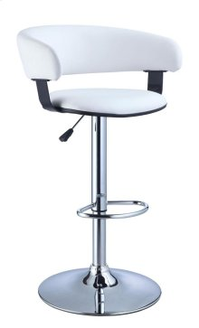 White Faux Leather Barrel & Chrome Adjustable Height Bar Stool