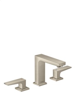 Brushed Nickel Widespread Faucet 110 with Lever Handles and Pop-Up Drain, 1.2 GPM