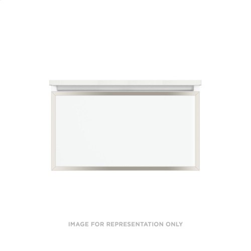 """Profiles 30-1/8"""" X 15"""" X 21-3/4"""" Framed Single Drawer Vanity In White With Polished Nickel Finish, Slow-close Plumbing Drawer and Selectable Night Light In 2700k/4000k Color Temperature"""