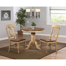 """DLU-BR3636-C50-PW3PC  3 Piece 36"""" Round Dining Set with Napoleon Chairs"""