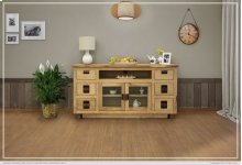 """70"""" TV Stand w/ 6 Drawer & 2 Glass Doors"""