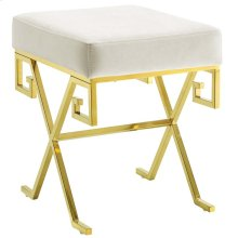 Twist Performance Velvet Bench in Gold Ivory