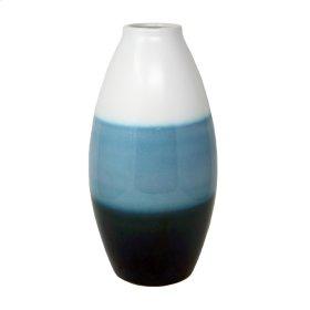 """White/blue Layered Vase 16.5"""""""