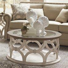 Elizabeth - Round Coffee Table - Smokey White/antique Oak Finish