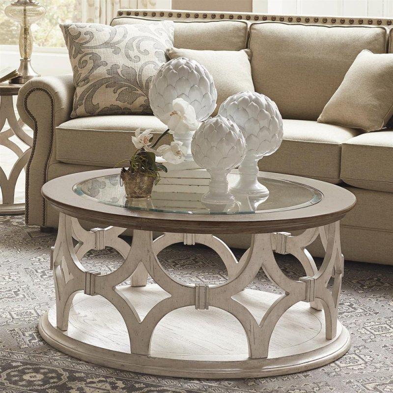 Elizabeth Round Coffee Table Smokey White Antique Oak Finish