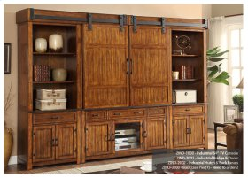 Industrial Collection Entertainment Wall with Barn Doors