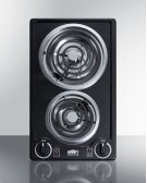 115v 2-burner Coil Cooktop In Black Porcelain With Cord Included; Made In the USA Product Image