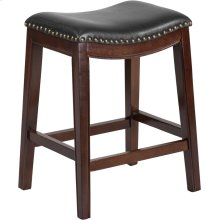 26'' High Backless Cappuccino Wood Counter Height Stool with Black Leather Saddle Seat