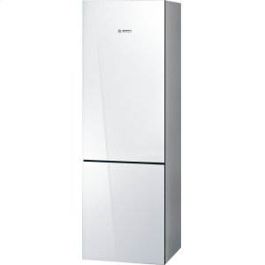 Bosch800 Series, Free-standing fridge-freezer-White Glass Door
