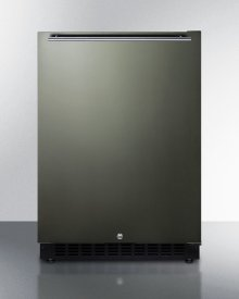 Built-in Undercounter ADA Compliant All-refrigerator With Black Stainless Steel Door, Horizontal Handle, Black Cabinet, Door Storage, and Digital Controls