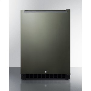 SummitBuilt-in Undercounter ADA Compliant All-refrigerator With Black Stainless Steel Door, Horizontal Handle, Black Cabinet, Door Storage, and Digital Controls