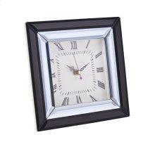 "Mirrored Black Table Clock, 7.75"""