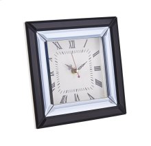 Mirrored Black Table Clock, 7.75""
