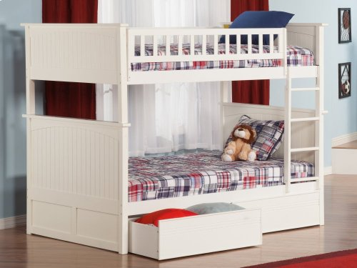 Nantucket Bunk Bed Full over Full with Flat Panel Bed Drawers in White