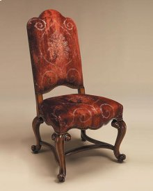 Hand Carved Frontier Finished Side Chair, Rust Patterned Velvet Upholstery