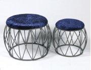 2pc Set Stools-silver Finish-navy Fabric-su Product Image