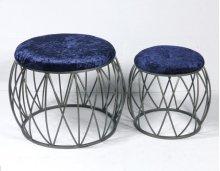 2pc Set Stools-silver Finish-navy Fabric-su