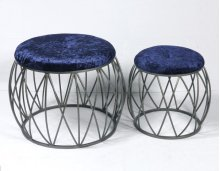 2pc Set Stools-silver Finish-navy Fabric-su