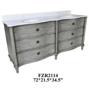 "Grayson Curved 4 Drawer 72"" Double Vanity Sink Product Image"