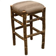 "Square Counter Stool - 30"" high - Natural Hickory - Customer Fabric"
