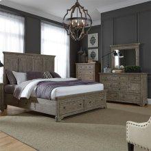 Queen Two Sided Storage Bed, Dresser & Mirror, Chest