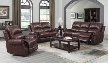 EM1193 Collection - 3 Piece Reclining Living Room Set with Power Headrests  USB  Cognac Brown