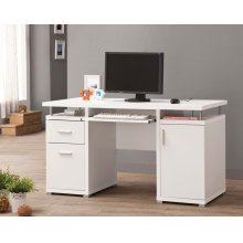 Contemporary White Computer Desk