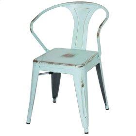 Metropolis Metal Arm Chair, Distressed Aqua