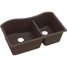 "Elkay Quartz Luxe 32-1/2"" x 20"" x 10"", 60/40 Double Bowl Undermount Sink, Chestnut"