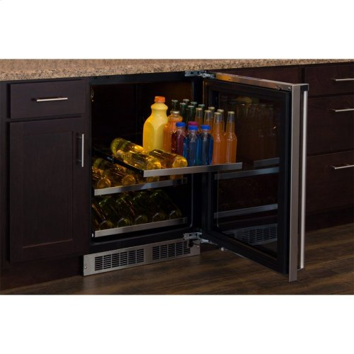 """Marvel 24"""" Beverage Center with Display Wine Rack - Stainless Frame, Glass Door With Lock - Integrated Left Hinge, Professional Handle"""
