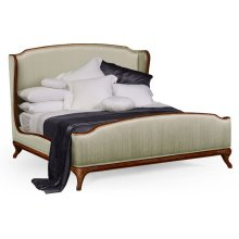 Cali King Louis XV Walnut Bed, Upholstered in Duck Egg Silk