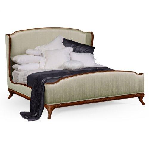 Cali King Louis XV Walnut Bed, Upholstered in Duck Egg Silk