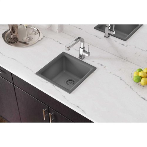 "Elkay Quartz Classic 15-3/4"" x 15-3/4"" x 7-11/16"", Single Bowl Dual Mount Bar Sink, Greystone"