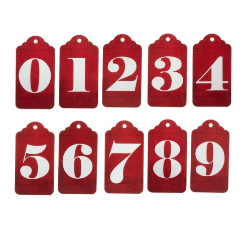 """""""Days until Christmas"""" Countdown Calendar with Red Number Tags."""