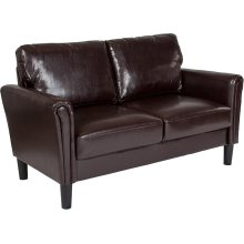 Bari Upholstered Living Room Loveseat in Brown Leather