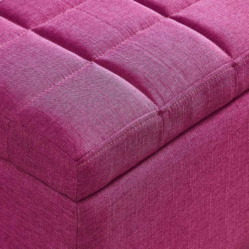 Lila Storage Ottoman in Pink