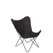 Chair 75x87x86 cm BUTTERFLY leather dark brown/black